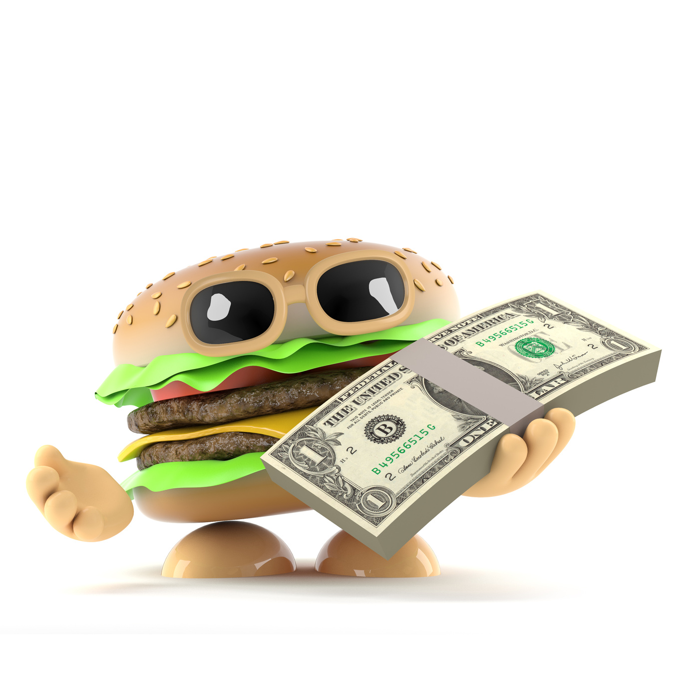 Burger gets paid in US Dollars